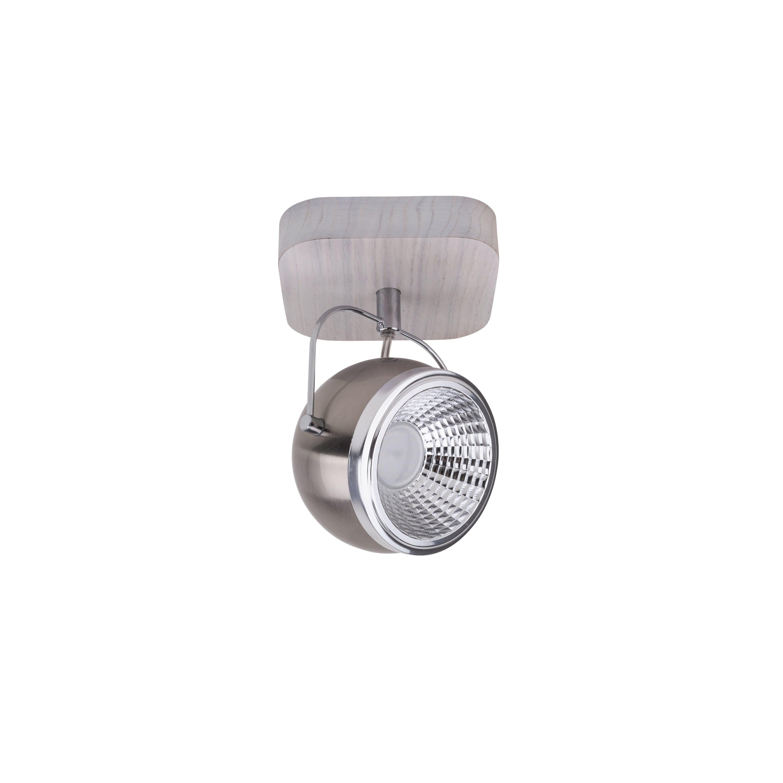 Kinkiet Ball Dřevo dąb bielony / chrom / satén LED GU10 5,5W