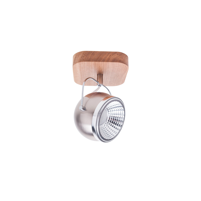 Nástěnné svítidlo Ball Dřevěný dubový olej / chrom / GU10 5W satin LED