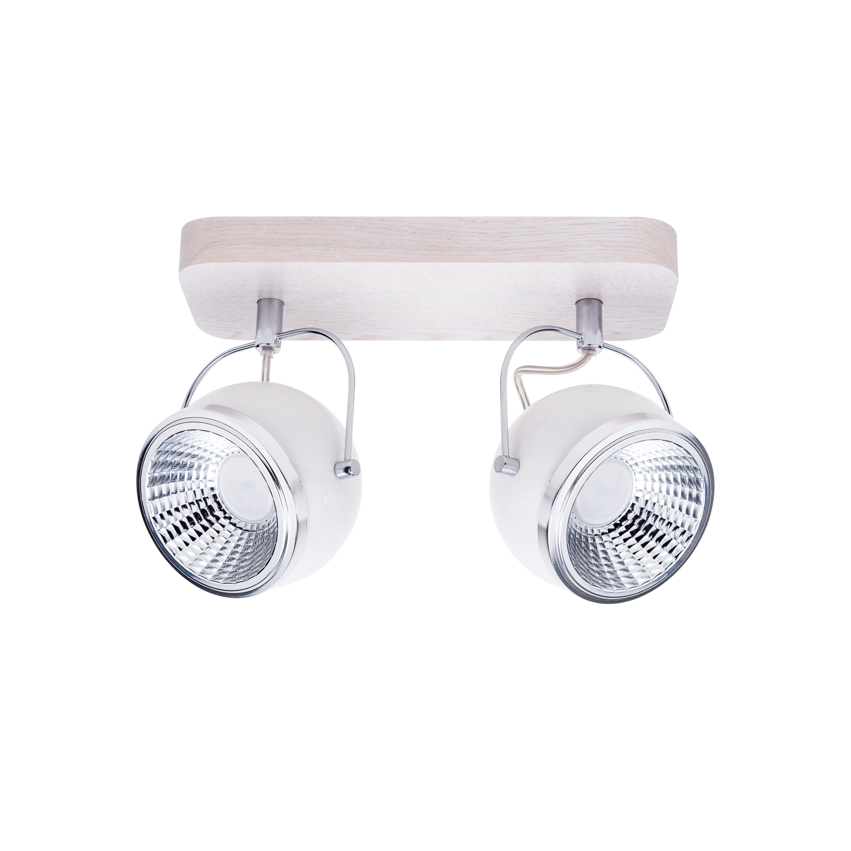 Listwa spot Ball Wood dąb bielony / chrom / biały Dvojitá LED GU10 5,5W