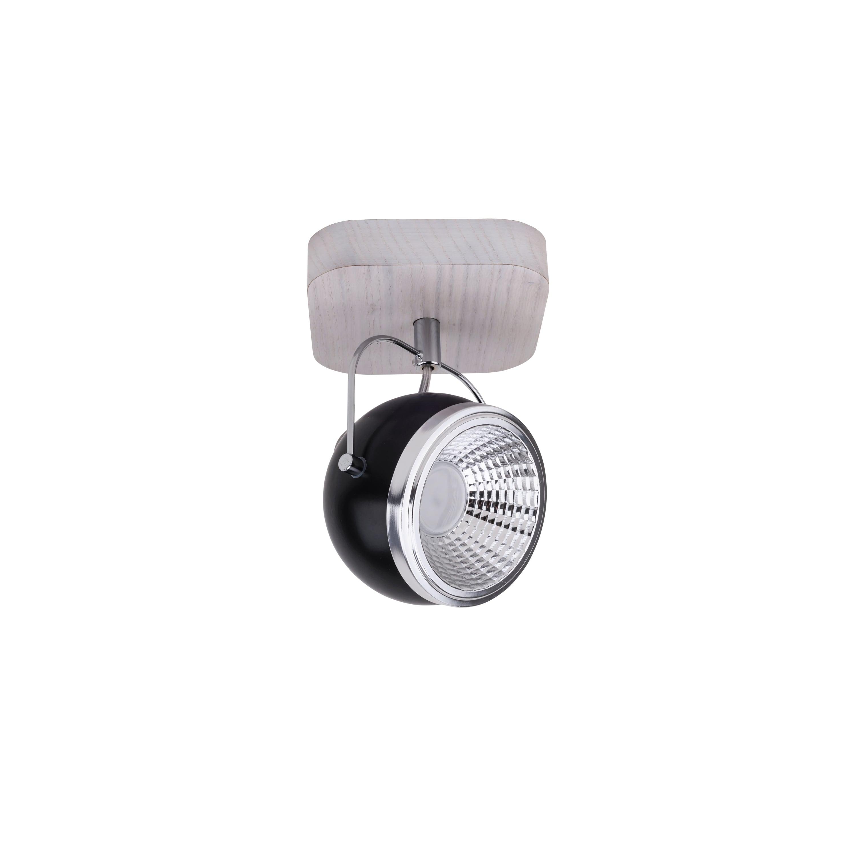 Nástěnné svítidlo Ball Dřevěný dub bělený / chrom / černá LED GU10 5,5W
