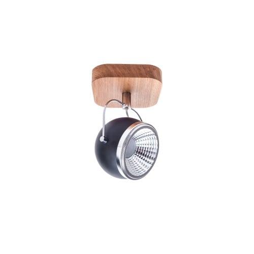 Nástěnná lampa Kulička Dřevěný olej / chrom / černá LED GU10 5,5W