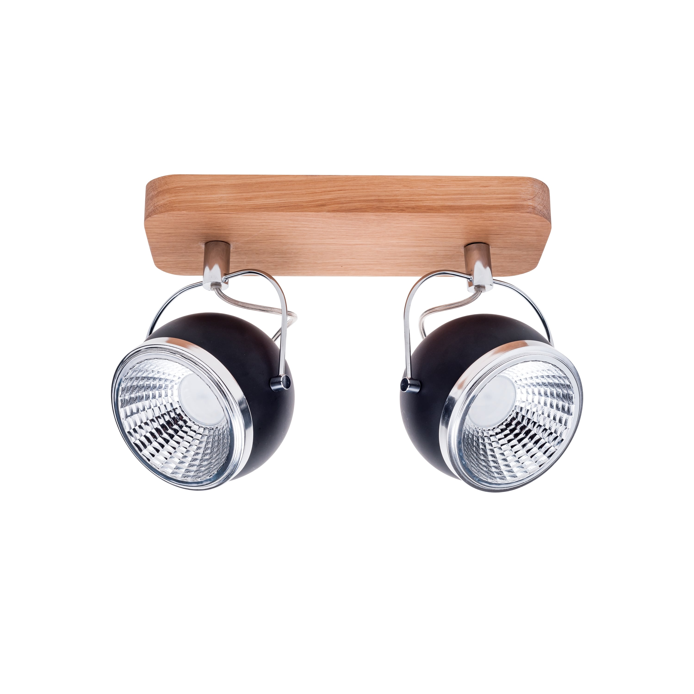 Strip spot 2 žárovky Ball Dřevěný dubový olej / chrom / černá LED GU10 5,5W