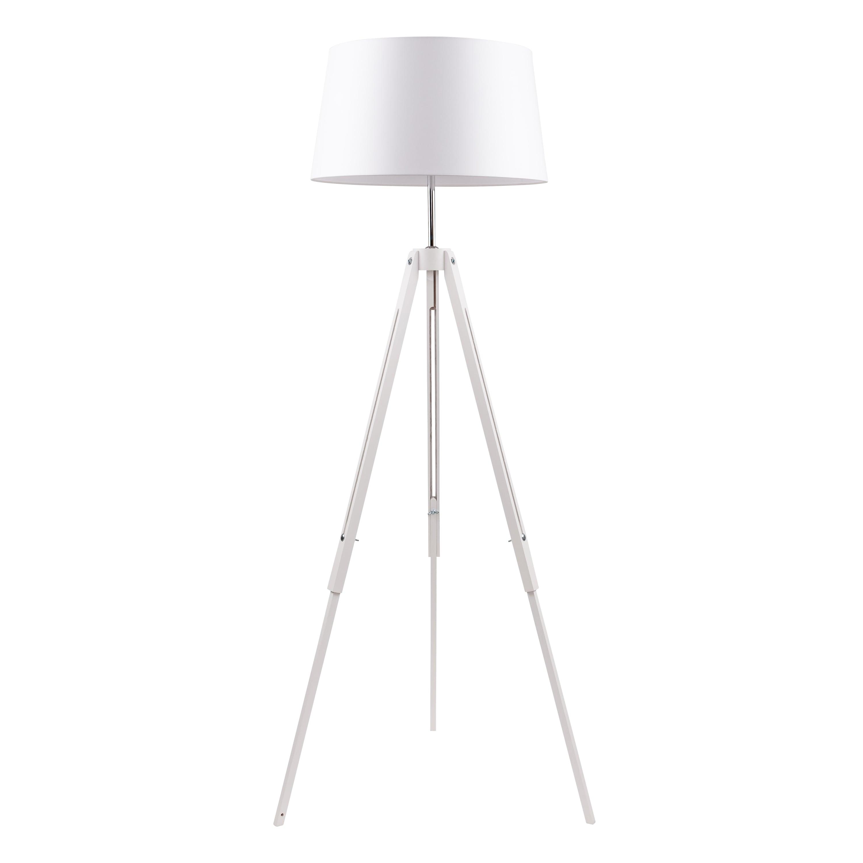Bílá stojací lampa. Stativ