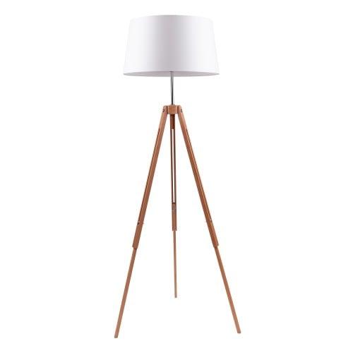 Drewniana Lampa Podłogowa Trójnóg