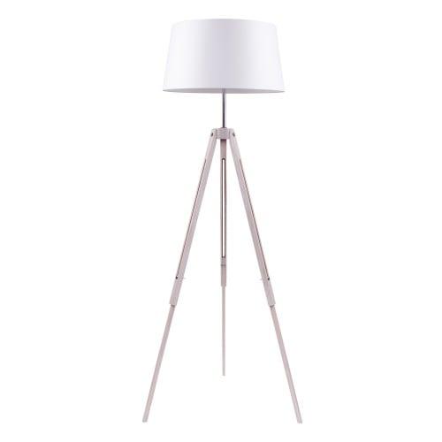 Stojací lampa Stativ dąb bielony / chrom / bílá E27 60W