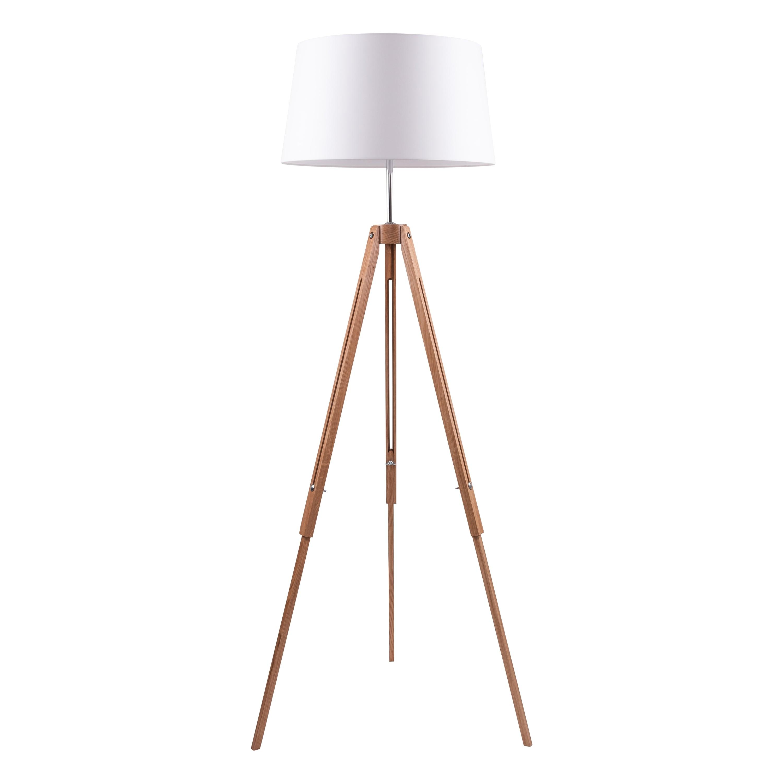 Stojací lampa Dub stativ / chrom / bílá E27 60W