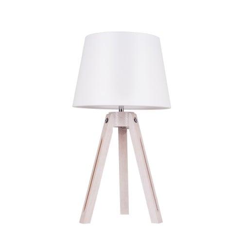 Stolní lampa Stativ dąb bielony / chrom / bílá E27 60W