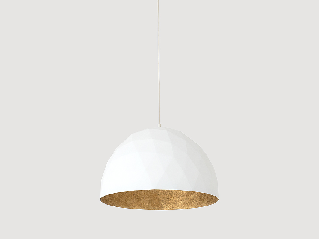 Závěsná lampa LEONARD L - zlatá a bílá
