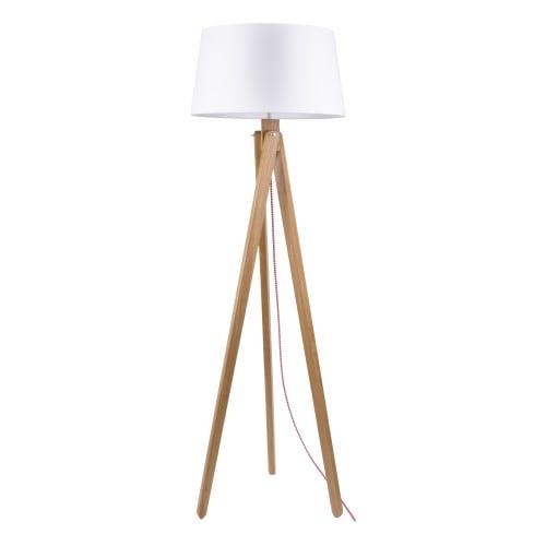 Lampa podłogowa Rune dąb/czerwono-biały/biały E27 60W