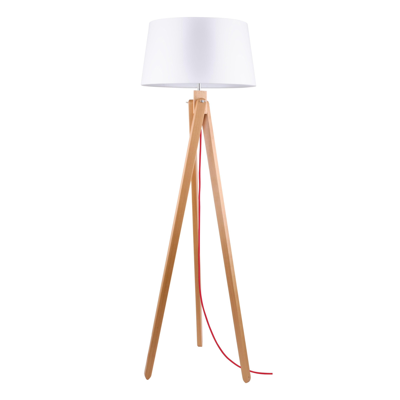 Stojací lampa Rune Buk / czerwony / bílá E27 60W