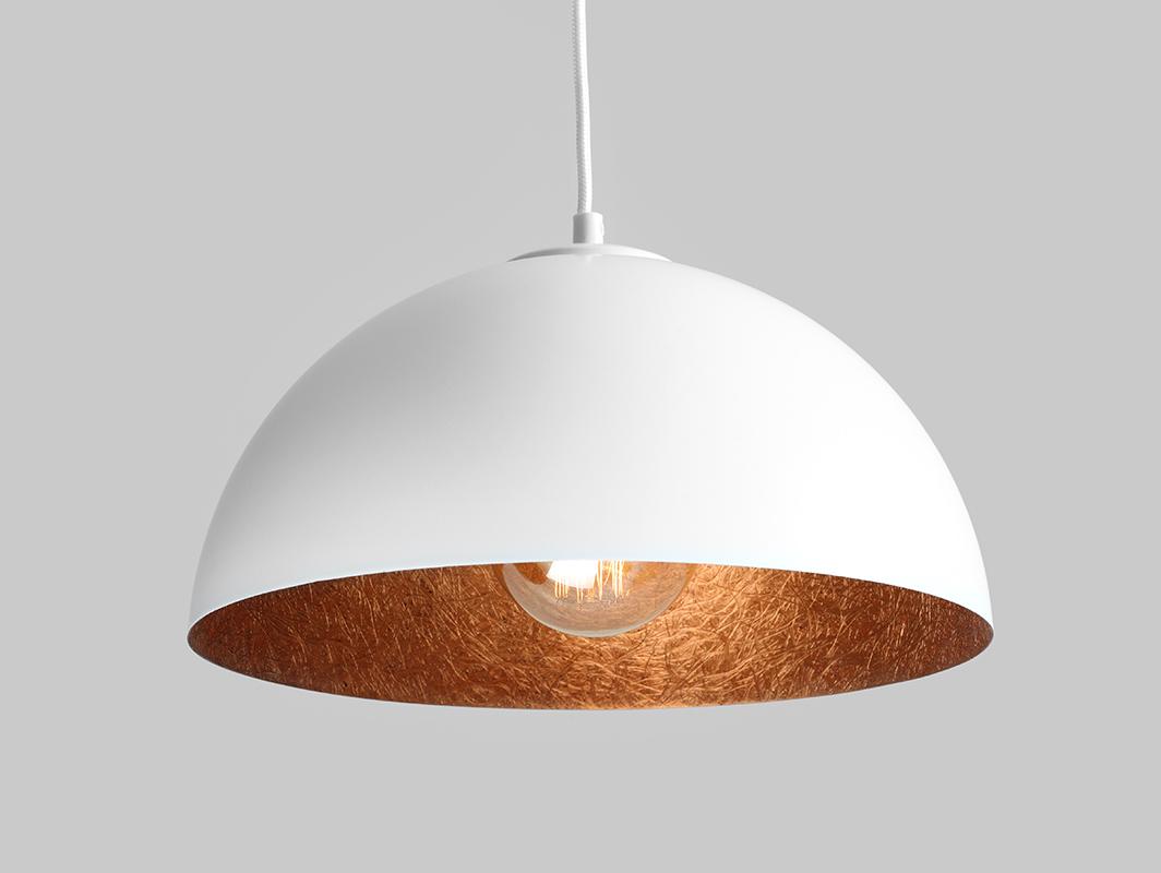 Závěsná lampa LORD 35 - měď-bílá