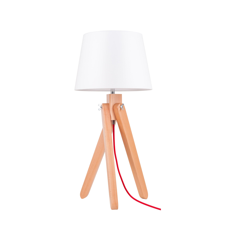 Stolní lampa Rune buk / červená / bílá E27 60W