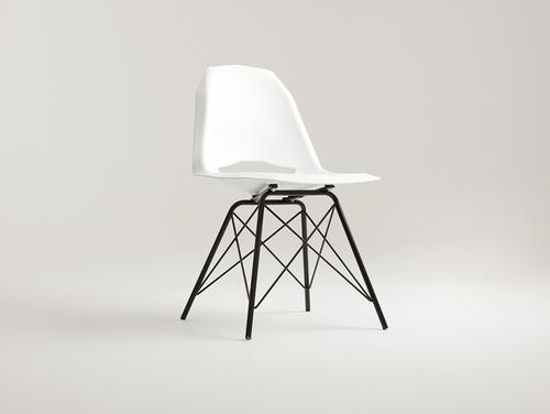 Židle MATCH METAL BLACK - bílá
