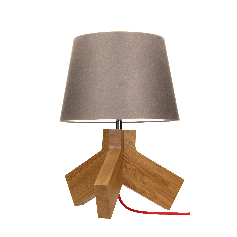 Stolní lampa Tilda dub / chrom / červená / šedohnědá E27 60W