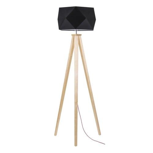 Dřevěná podlahová lampa s černým odstínem