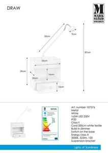 DRAW Nástěnná lampa 1L bílá small 0