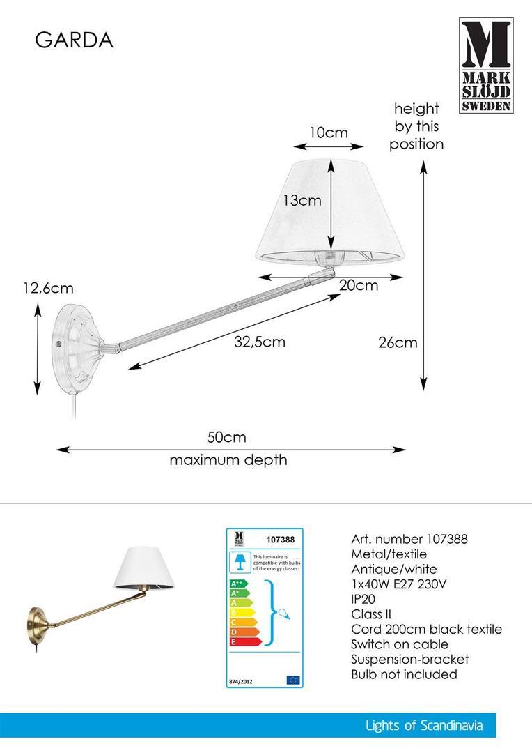 GARDA Nástěnná lampa 1L Antique / White