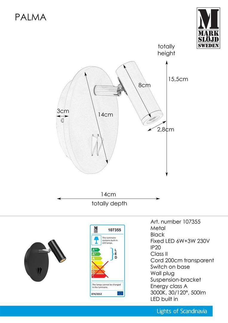 PALMA Nástěnná lampa 2L Černá