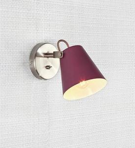 TRIBE Nástěnná lampa 1L Burgundsko / ocel small 1
