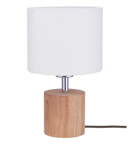 Lampa stołowa Trongo dąb olejowany różne kolory kabla biały E27 60W