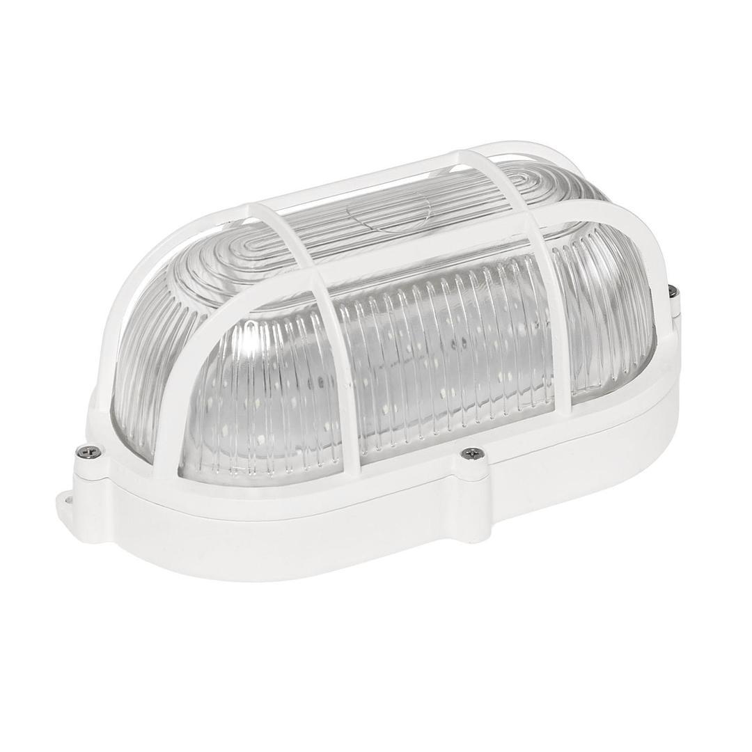 Technická lampa LED 9 W Ip65 230 V Nw ovál, prizmatický skleněný difuzor, hliníkový koš, kamenec