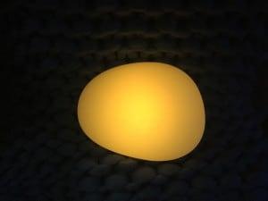 Solární lampa - zploštělé koule kamenné vejce LED RGB barevné small 5