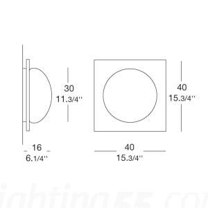 Nástěnná lampa / Plafond Murano Due (Leucos) Gio 40 Wenge 2x75W small 2