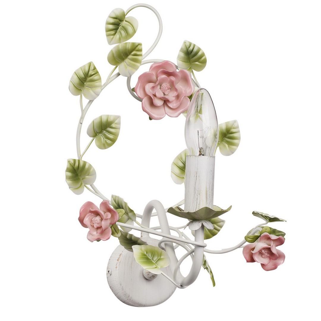 Nástěnná lampa Provence Flora 1 bílá - 421023901