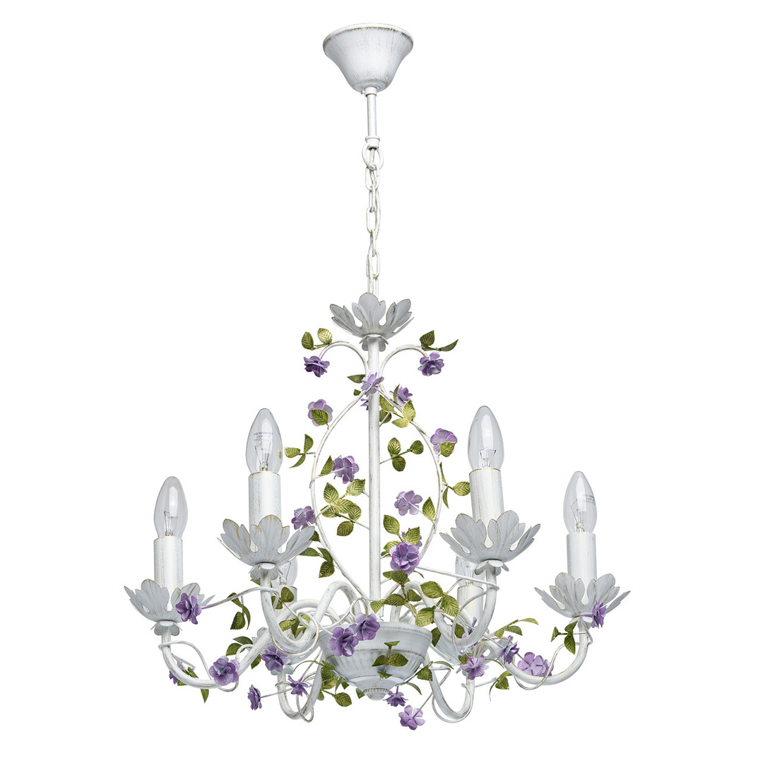 Závěsná lampa Provence Flora 6 bílá - 421014406