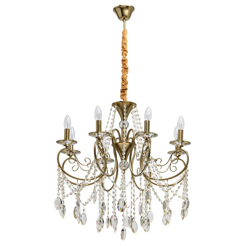 Závěsná lampa Selena Crystal 8 Mosaz - 482016408