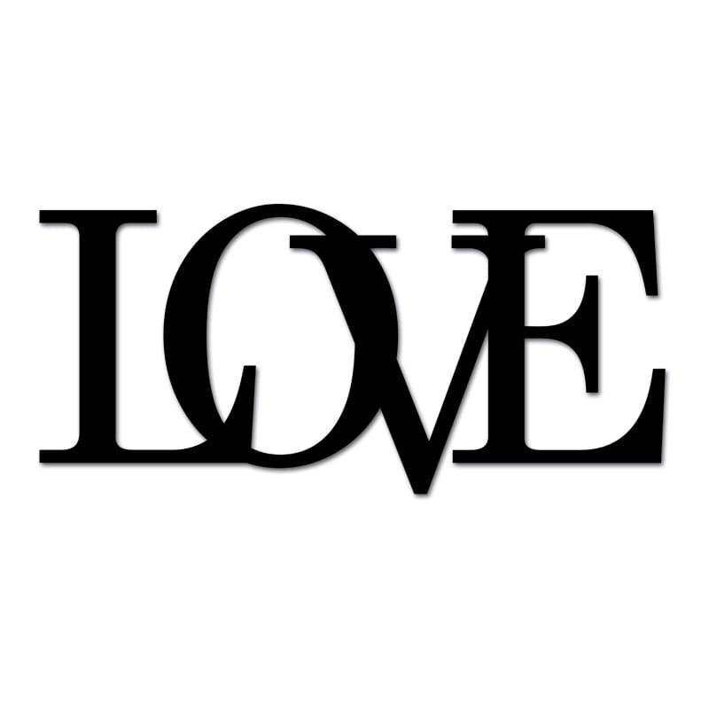 Nápis na zdi LOVE černý vzor 2