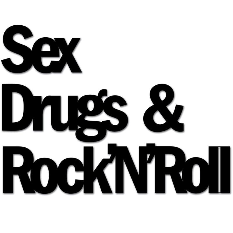 Nápis na zdi SEX DRUGS & ROCKnROL