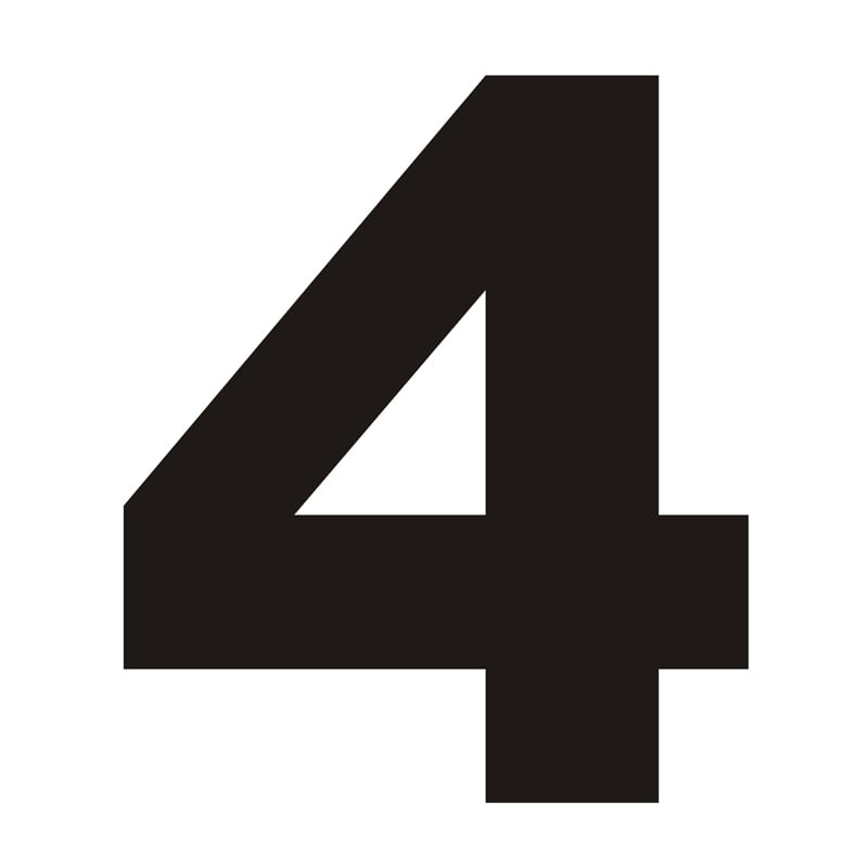 Číslo domu 4 černá