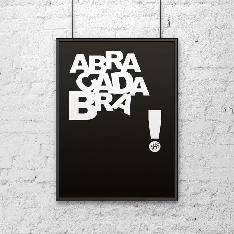 Dekorativní plakát 50x70 cm ABRACADABRA černá