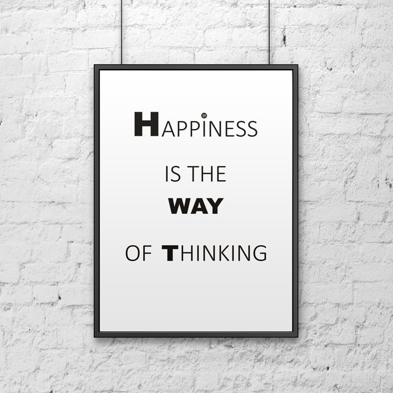 Dekorativní plakát 50x70 cm HAPPINESS JE DŮVODEM MYŠLENÍ bílé