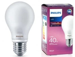 PHILIPS LED lampa 4,5W E27 230V BÍLÁ small 0