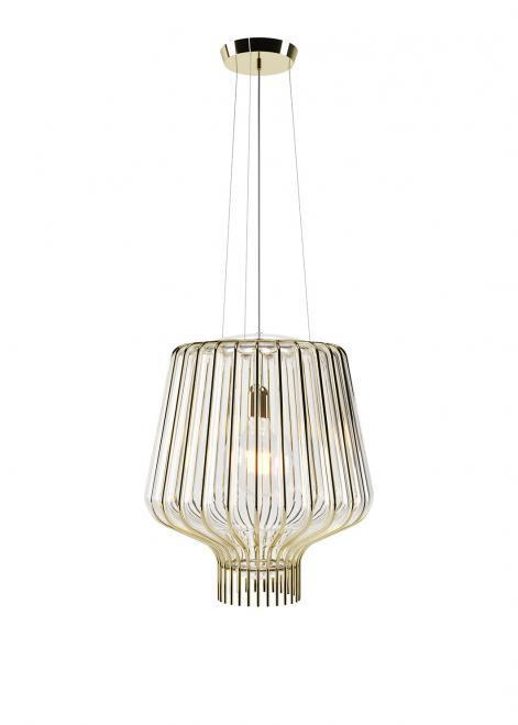 Závěsná lampa Fabbian Saya F47 22W 40cm - Zlatá a průhledná - F47 A21 00