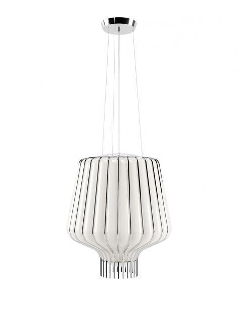 Závěsná lampa Fabbian Saya F47 22W 40cm - bílá a chrom - F47 A11 01