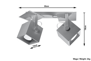 CEDRA 2 šedá stropní lampa small 3