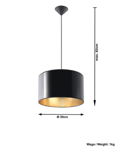 Černá závěsná lampa LUXOR 30 small 3