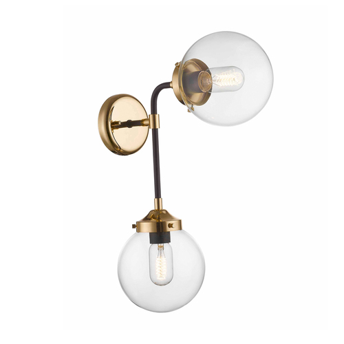 Zuma Line W0454-02D-SDAC RIANO WALL LAMP ZLATÁ + ČERNÁ + CLEAR