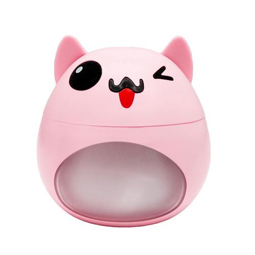 Růžový zvlhčovač LED ve tvaru kočky s ventilátorem a USB lampou