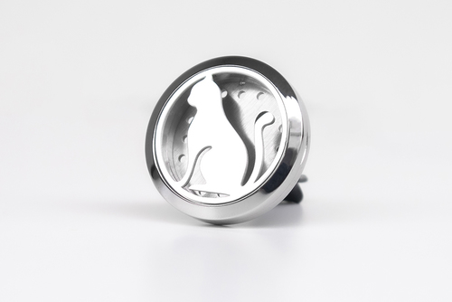 Dekorativní osvěžovač vzduchu do auta, difuzor éterických olejů - kočka, nerezová ocel