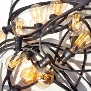 Zahradní žárovka Garland 10m 10 držáků nástrojů černá small 3
