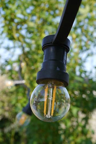 Zahradní žárovka Garland 20m 20 držáků nástrojů černá