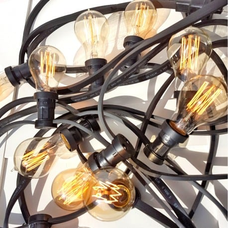 Zahradní žárovka Garland 30m 60 držáků nástrojů černá