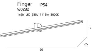Nástěnná lampa velká černá IP54 W0232 Max Light small 2