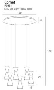 Závěsná lampa Cornet 6 LED P0331 Max Light small 2