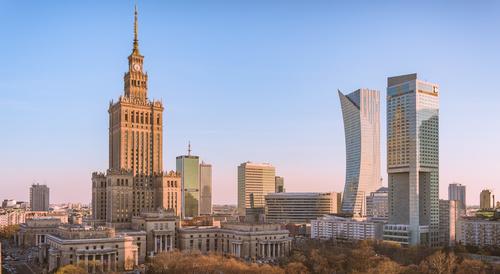 Fototapeta Varšava Centrum za úsvitu, Palác kultury, Złota 43, Intercontinental