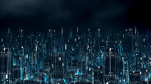 Fototapeta 3D digitální město v noci, virtuální realita, obchodní inteligence, nástěnná malba pro kancelář